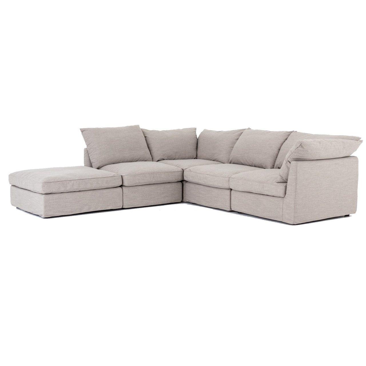Paul Coastal Grey 5 Piece Modular Sectional Sofa Zin Home Fourhands