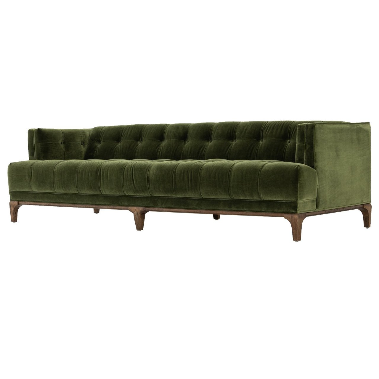 Dylan Mid Century Modern Olive Green Velvet Tufted Sofa Zin Home Fourhands