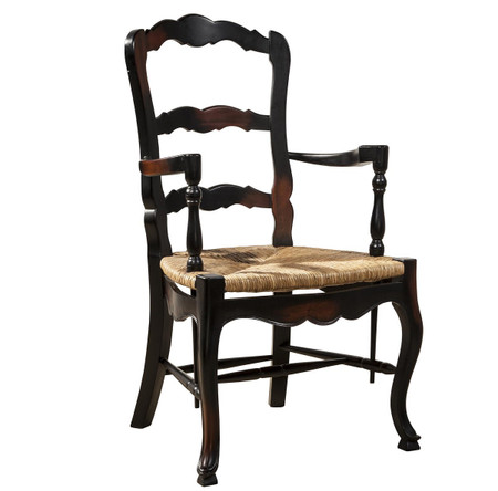 French Country Mahogany Ladderback Black Arm Chair | Zin Home