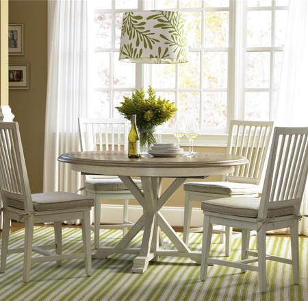 Coastal Beach White Oak Round Expandable Dining Table 54
