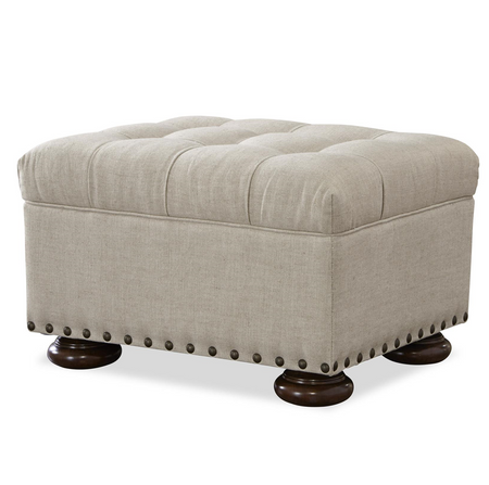 Maxwell Linen Upholstered Tufted Ottoman With Nailhead