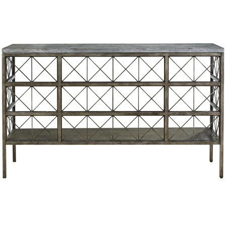 Sojourn French Industrial Bluestone Top Metal Console