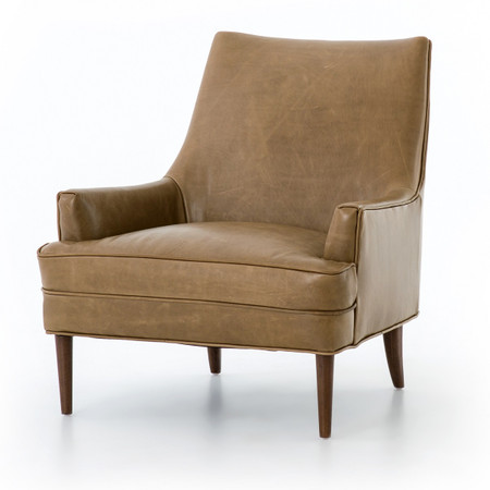 Danya Mid Century Modern Taupe Leather Accent Chair Zin Home