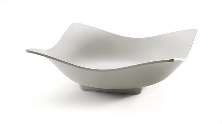 Large Square Light Grey Melamine Bowl  12.25x12.25x4.13 - Set/3 pcs.