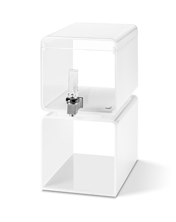 Hands-Free Lucid Beverage Dispenser 2 Gallon - With White Acrylic Base & Touchless handle - Rosseto™