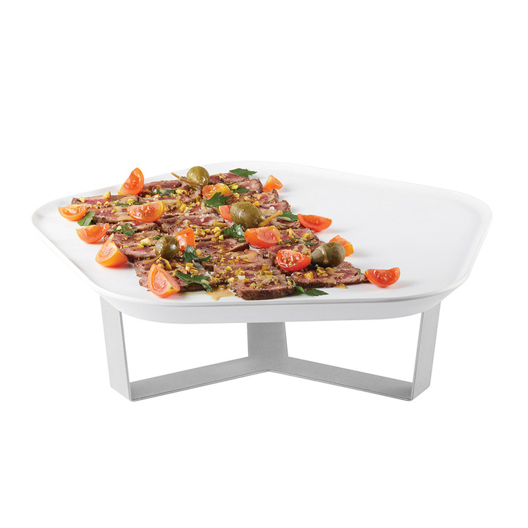 """Forme' Melamine Polygon White Tray with Three Leg 4"""" Silver Riser (Limited Time Offer)"""