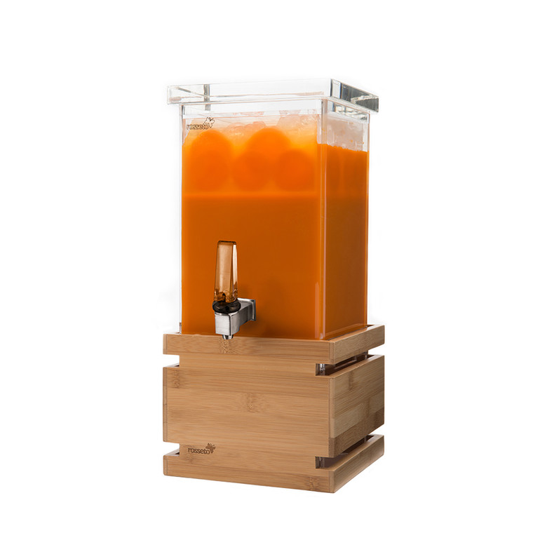 Hands-Free Square Beverage Dispenser 1 Gallon - With Bamboo Base & Touchless handle - Rosseto™