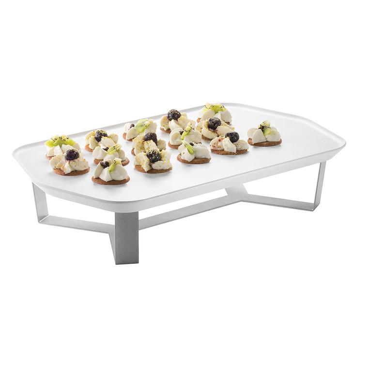 """Forme'™ Melamine Tray & 4"""" Riser Set, White Rectangle - SM271"""