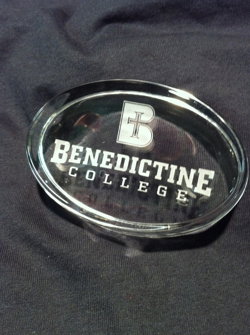 SALE - Glass Etched Paperweight