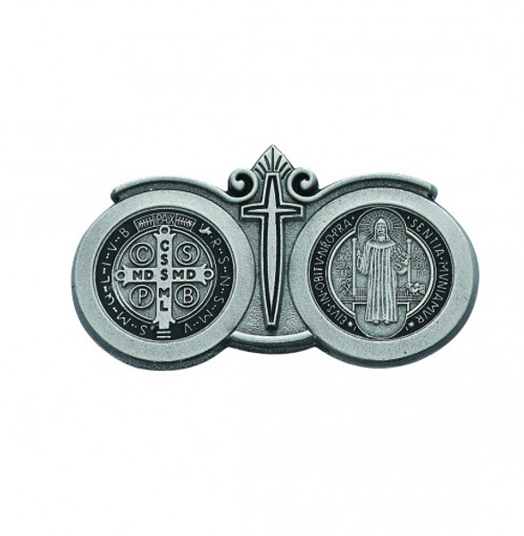 Auto Visor Clips - St Benedict and Miraculous Medal