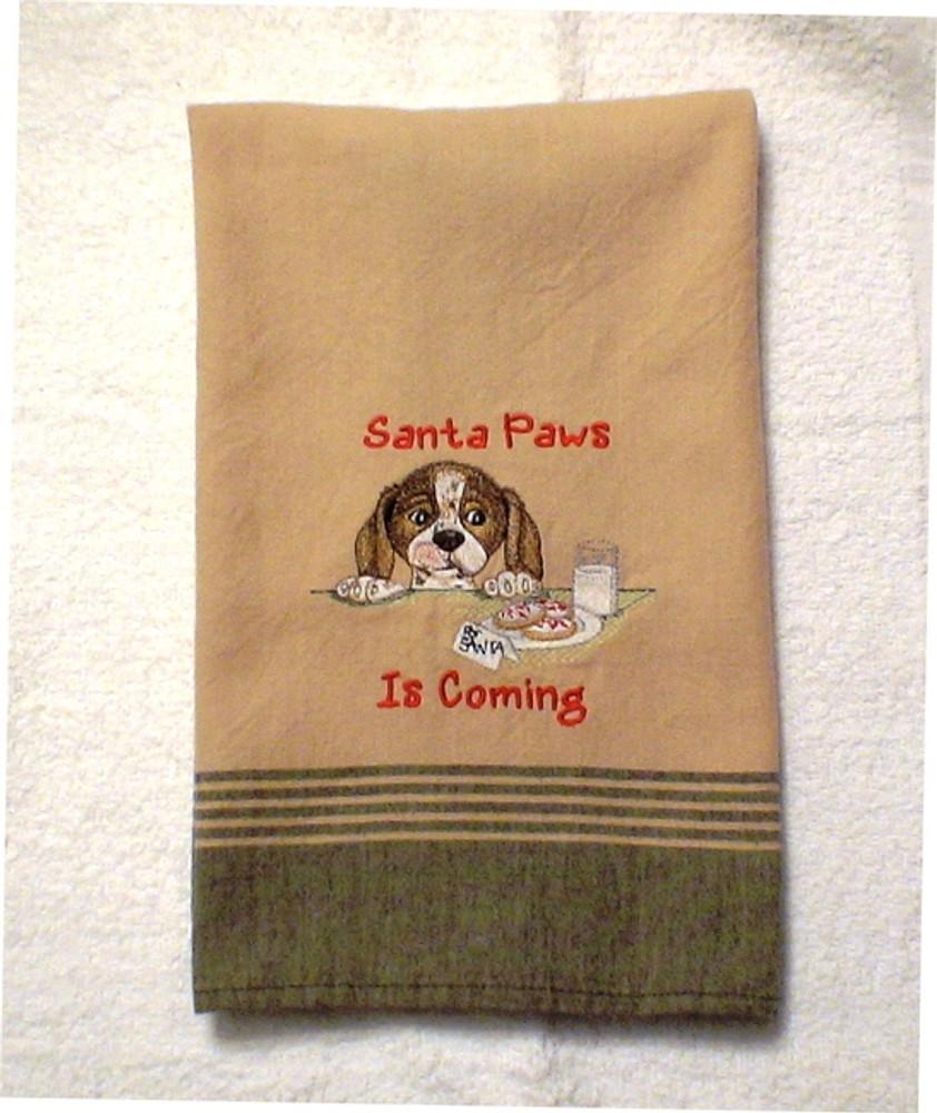 Dish Towel - Santa Paws Is Coming (Green/tan)