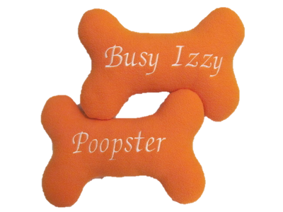 Bone-shaped pawsonality pillow, embroidered