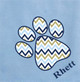 Baby blue blanket with Chevron paw print
