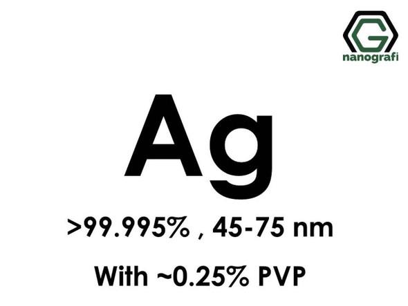 Ag (Gümüş) Nanopartikül 99.995% , 45-75 nm, w/~0.25% PVP
