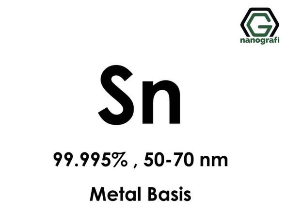 Sn(Kalay) Nanopartikül 99.995%, 50-70nm, Metal Temelli