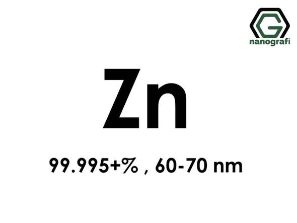 Zn(Çinko) Nanopartikül Yüksek Saflıkta, 99.995+%, 60-70 nm
