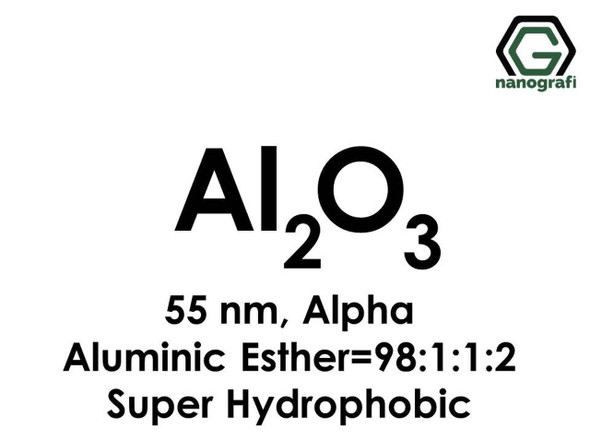 Al2O3(Alüminyum Oksit) Nanopartikül:Alüminik Ester=98.1:1.2, Alfa, 55nm, Super Hidrofobik