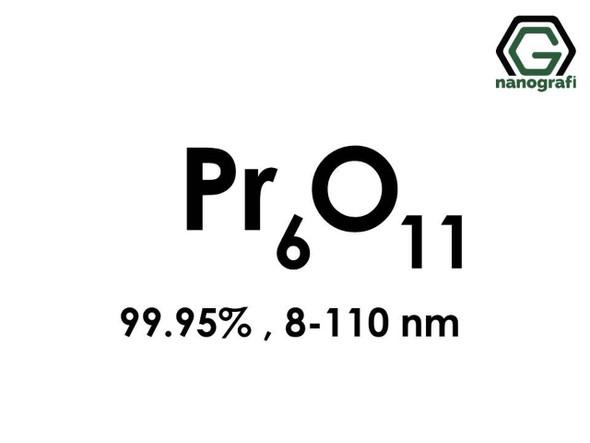 Pr6O11(Praseodimyum Oksit) Nanopartikül, 8-110nm, Saflık 99.95%