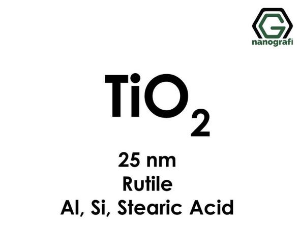 TiO2(Titanyum Dioksit) Nanopartikül , Rutil Al, Si, Stearik Asit, 25nm
