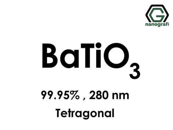 BaTiO3(Baryum Titanat) Nanopartikül, 99.95%, 280nm, Tetragonal