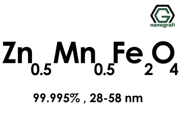 Zn0.5Mn0.5Fe2O4(Çinko Mangan Demir Oksit) Nanopartikül, 99.995%, 28-58nm