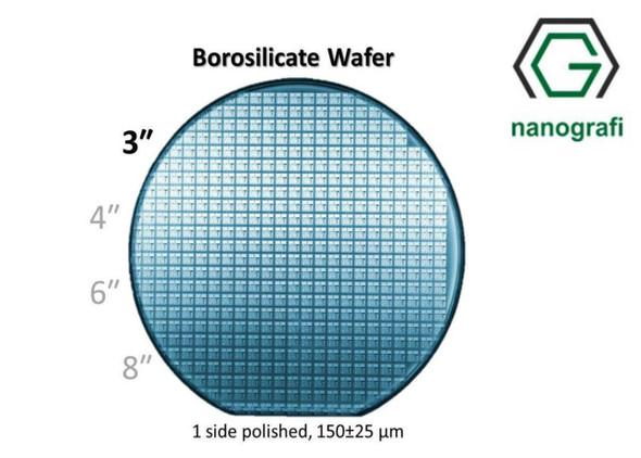 Boroslicate Wafer/Altaş,3 inç,1 Yüzeyi Parlatılmış,150 ± 25,