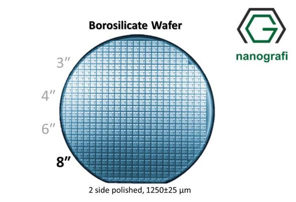Boroslicate Wafer/Altaş,8 inç,2 Yüzeyi Parlatılmış,1250± 25,