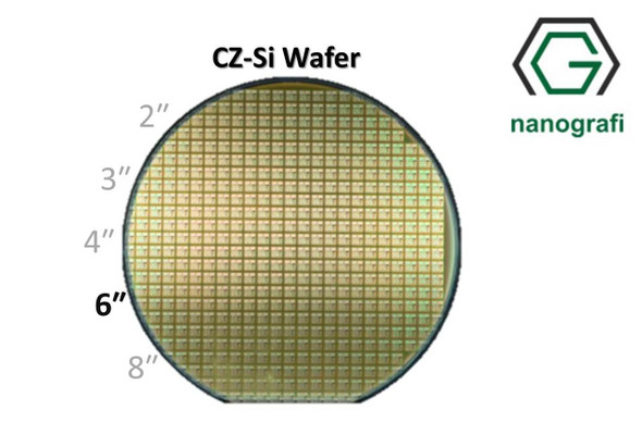 Prime CZ-Si Wafer/Altaş, 6‰″,(111), Bor Katkılı, 1-2 (ohm.cm),1 Yüzeyi Parlatılmış, 675 ± 15 um