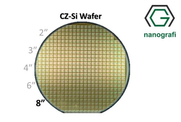 Prime CZ-Si Wafer/Altaş, 8‰″,(100), Bor Katkılı, 6,5-9 (ohm.cm),1 Yüzeyi Parlatılmış, 725 ± 20 um