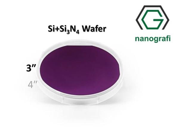 Prime Si+Si3N4 Wafer/Altaş, 3‰″,(100), Bor Katkılı, 1-10 (ohm.cm), 2 Yüzeyi Parlatılmış, 381± 25 um, Kaplama 300nm