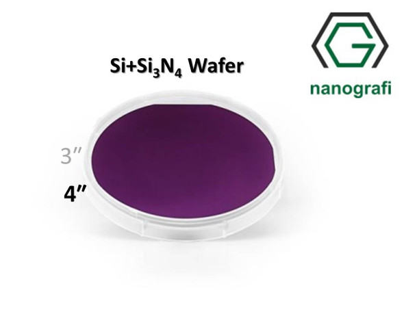 Prime Si+Si3N4 Wafer/Altaş, 4‰″,(100), Bor Katkılı, 1-10 (ohm.cm), 2 Yüzeyi Parlatılmış, 525± 25 um, Kaplama 70nm
