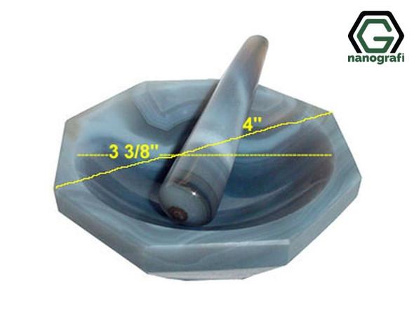 "4"" High Quality Natural Agate Mortar ve Pestle"