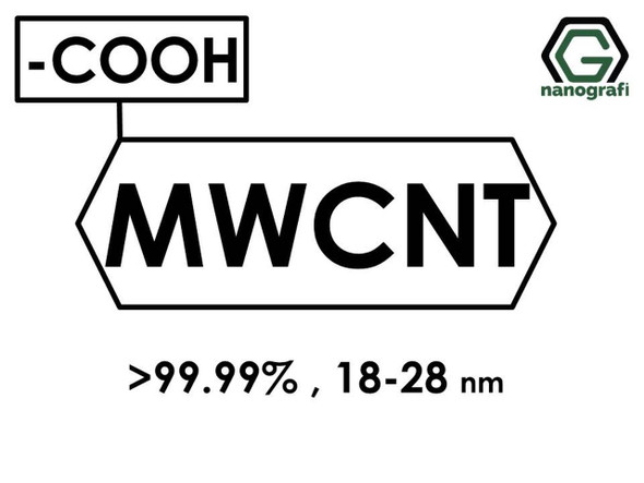 (-COOH) Fonksiyonlaştırılmış Grafitleştirilmiş Çok Duvarlı Karbon Nanotüp (Saflık > 99.99%, Dış Çap: 18-28nm)