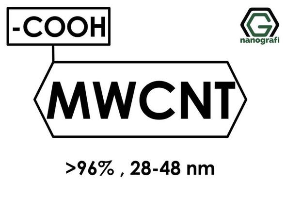 (-COOH) Fonksiyonlaştırılmış Çok Duvarlı Karbon Nanotüp (Saflık > 96%, Dış Çap: 28-48nm)