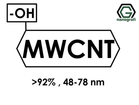 (-OH) Fonksiyonlaştırılmış Endüstriyel Çok Duvarlı Karbon Nanotüp (Saflık > 92%, Dış Çap: 48-78nm)