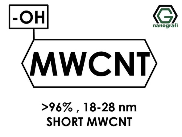 (-OH) Fonksiyonlaştırılmış Kısa Boylu Çok Duvarlı Karbon Nanotüp (Saflık > 96%, Dış Çap: 18-28nm)