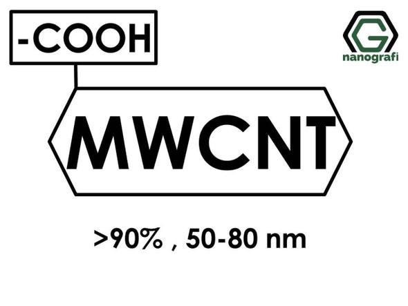 (-COOH) Fonksiyonlaştırılmış Endüstriyel Çok Duvarlı Karbon Nanotüp (Saflık > 90%, Dış Çap: 50-80nm)