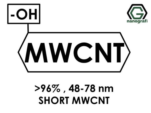 (-OH) Fonksiyonlaştırılmış Kısa Boylu Çok Duvarlı Karbon Nanotüp (Saflık > 96%, Dış Çap: 48-78nm)