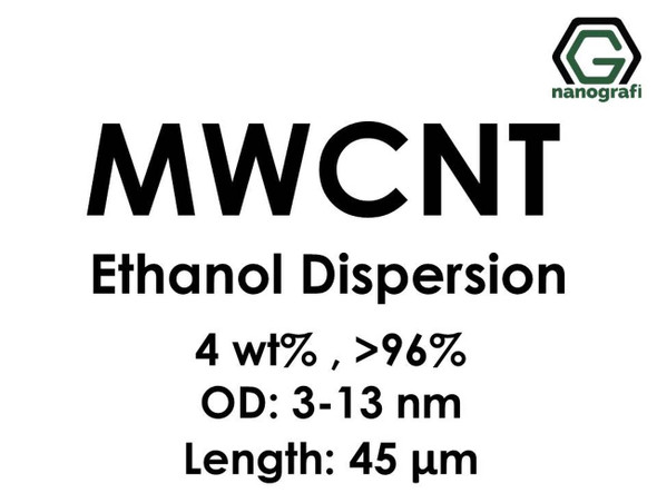 Çok Duvarlı Karbon Nanotüp Etanol Dispersiyon (4%ağ, >96+%, Dış Çap: 3-13 nm, Boy 45um)