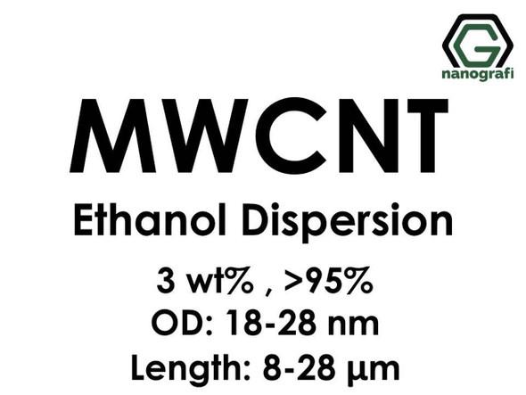Çok Duvarlı Karbon Nanotüp Etanol Dispersiyon (3%ağ, >95+%, Dış Çap: 18-28 nm, Boy 8-28um)