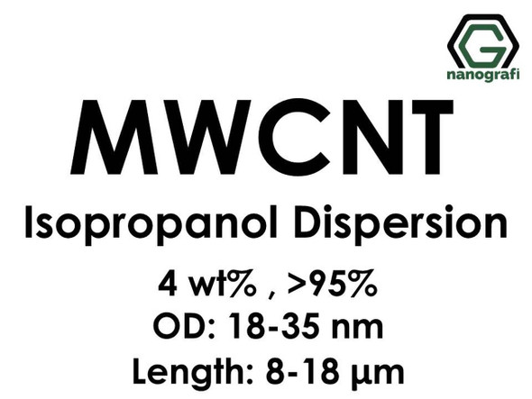 Çok Duvarlı Karbon Nanotüp İzopropanol Dispersiyon (4%ağ, >95+%, Dış Çap: 18-35 nm, Boy 8-18um)