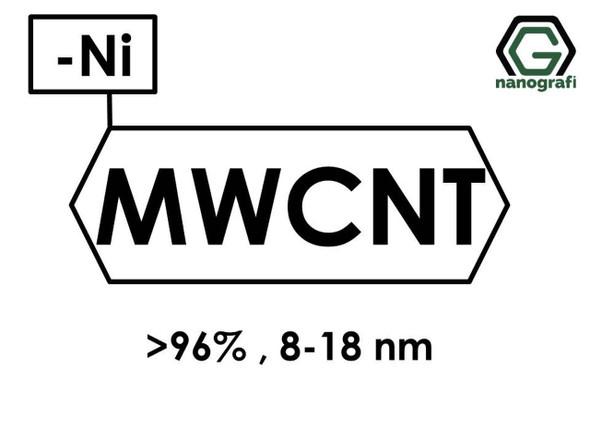 Nikel-Kaplı Çok Duvarlı Karbon Nanotüp, Saflık: > 96%,  Dış Çap: 8-18 nm