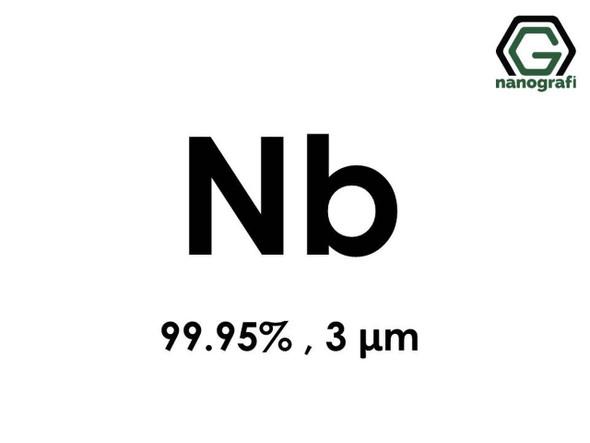 Nb(Niobiyum) Mikron Toz, 3 micron, 99.95 %