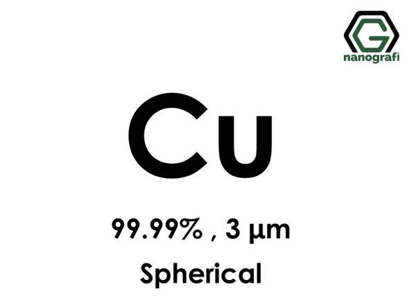 Cu(Bakır) Mikron Toz(Küresel), 3 micron, 99.99 %