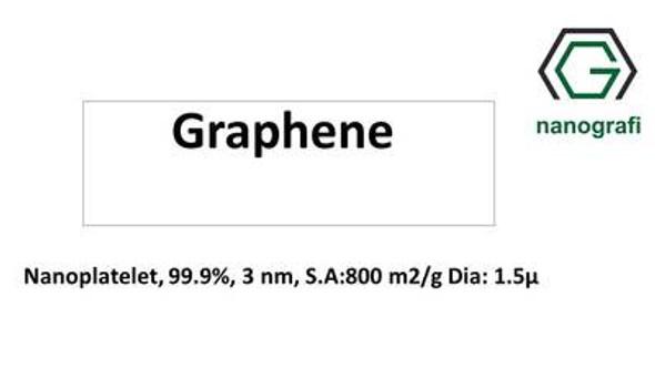 Grafen Nanoplatelet, 99.9%, 3 nm, S.A:800 m2/g Çap: 1.5um