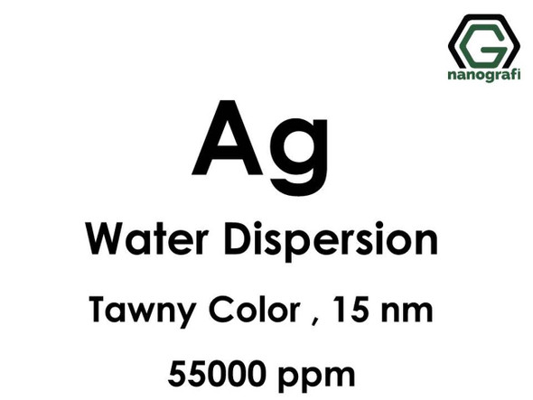 Ag - Su İçerisinde, 15nm, 55,000ppm, Sarımsı Kahverengi Renkte