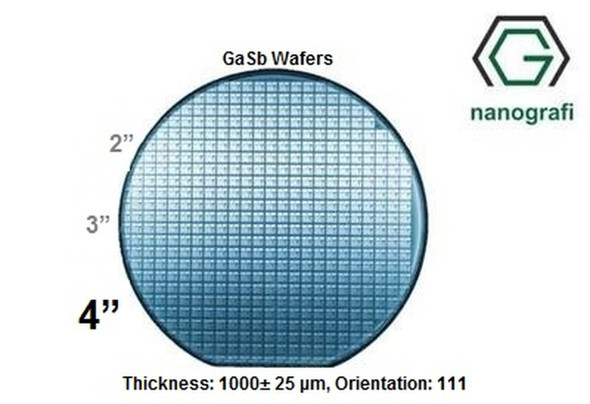 "Gallium Antimonide (GaSb) Wafers, 4"", Thickness: 1000± 25 μm, Orientation: 111, EPI-Ready"