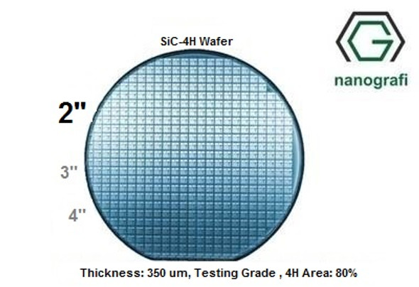 Silicon carbide Wafer ( SiC-4H ) - 4H , 2'' , Thickness: 350 um, Testing Grade , 4H Area: 80%