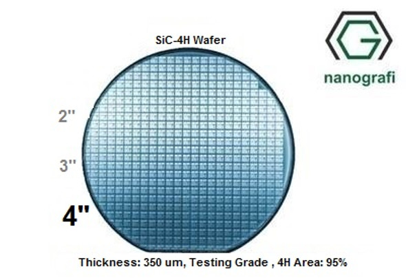 Silicon carbide Wafer ( SiC-4H ) - 4H , 4'' , Thickness: 350 um, Testing Grade , 4H Area: 95%
