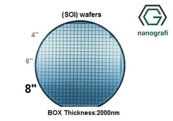 Silicon on Insulator (SOI) Wafers, Size: 8'', Devide Thickness: 600 nm, P type